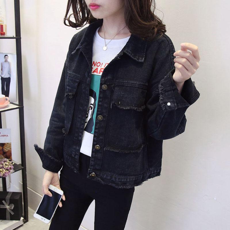 Spring and autumn black denim coat womens Korean 2020 new loose top students versatile BF long sleeve short jacket