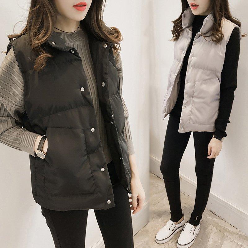 18年秋冬马甲韩版显瘦学生立领短款棉衣女百搭面包服加厚外套