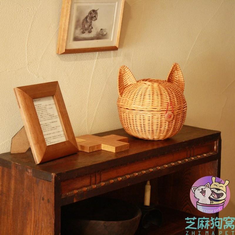 日本sincere japan藤编猫咪型 猫头形状收纳盒纸巾盒杂物盒首饰盒
