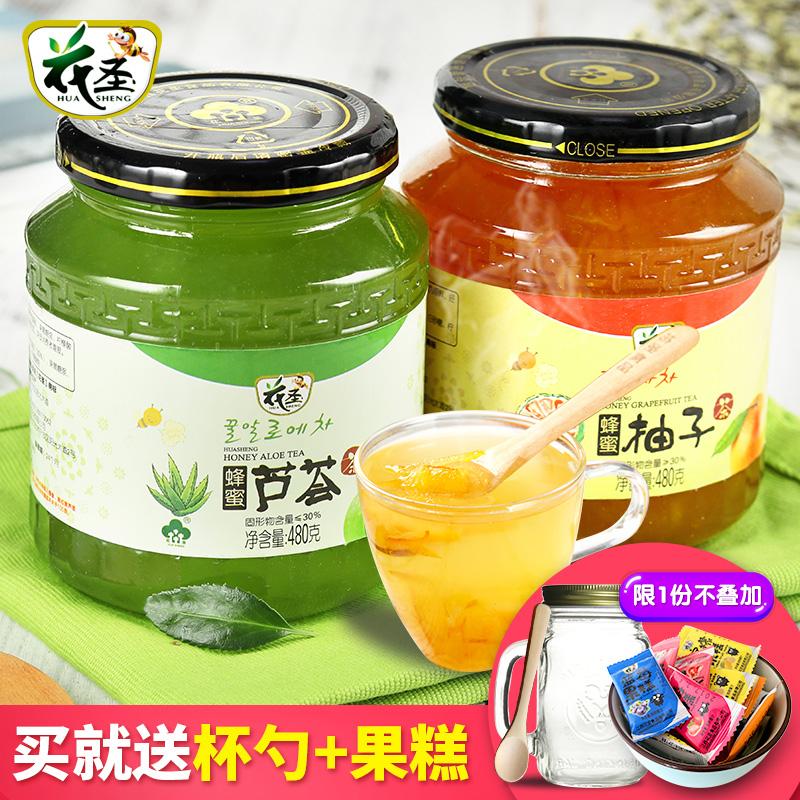 花聖蜂蜜柚子茶480g 蘆薈茶480g 韓國風味蜜煉水果味茶果醬衝飲品