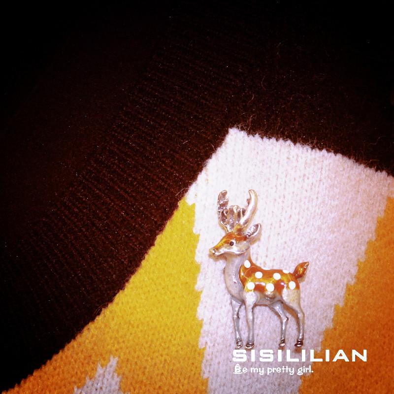 Sisilian hearts deer collide with Brooch lovely drop oil creative delicate Sika Deer breast flower