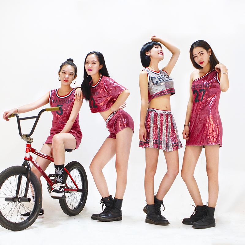 拉拉韩舞服装爵士舞成人套装性感女团演出服啦啦队亮片少女表演服