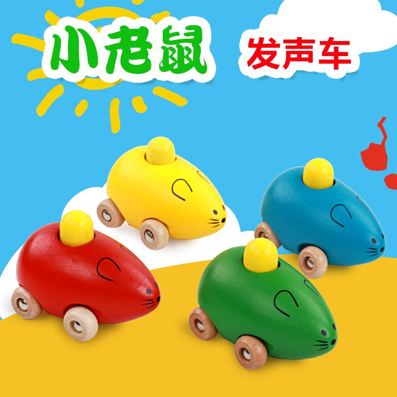 Внешняя торговля ребенок головоломка деревянный игрушка \ милый маленький мышь тележки \ животное автомобиль \ пресс рядом с вокализация может кольцо