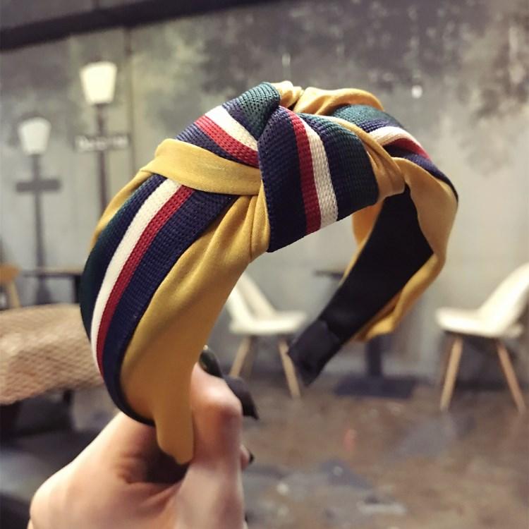 韩版春季新款简约布艺撞色发箍条纹格子拼接打结宽边发卡时尚饰品