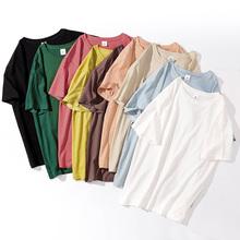 528#实拍(现货)纯棉圆领宽松显瘦黑白色t恤女短袖纯色 (100棉)