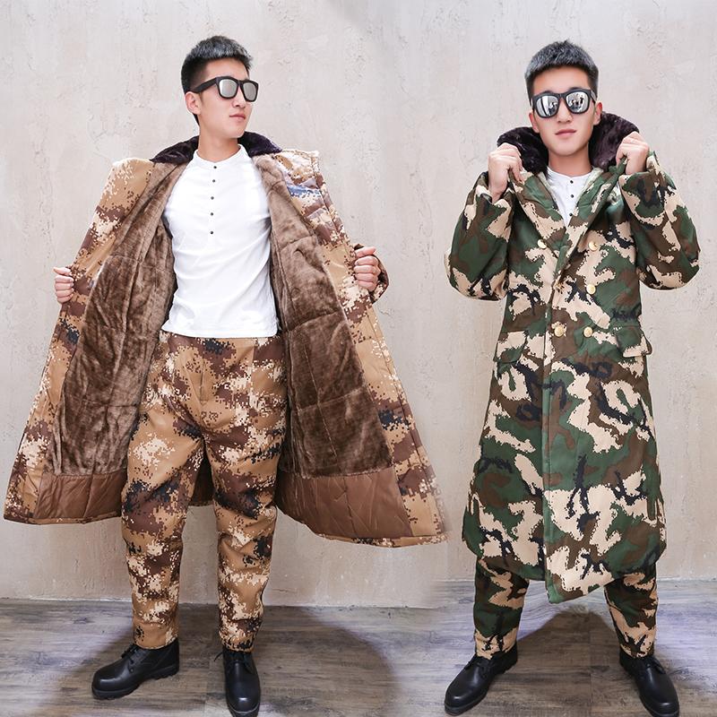Зима на открытом воздухе утолщённый с дополнительным слоем пуха камуфляж, армия пальто холодный пустынный камуфляж длинная модель холодный склад работа наряд хлопок мужской одежды