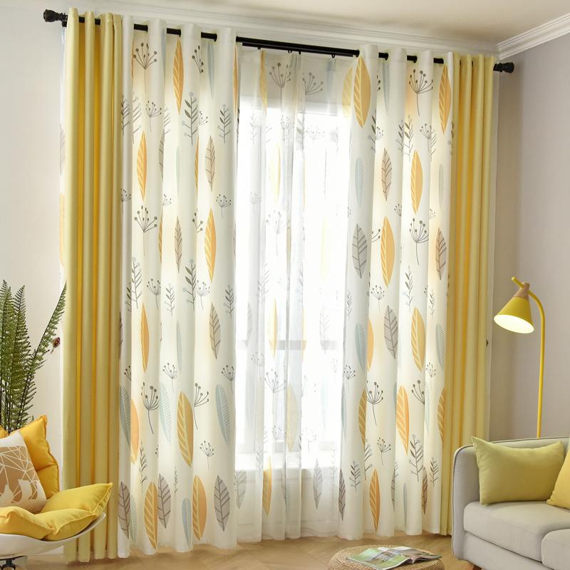 新款美式北欧植物树叶窗帘成品简约现代遮光客厅卧室落地棉麻拼接