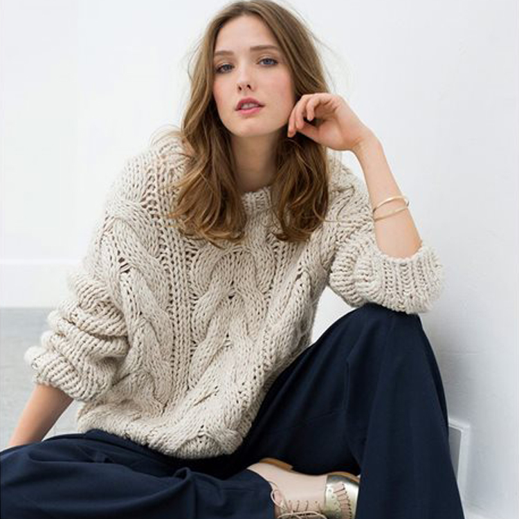 Youjia original European and American style thickened pure manual thick needle sweater womens loose twist knitting womens sweater