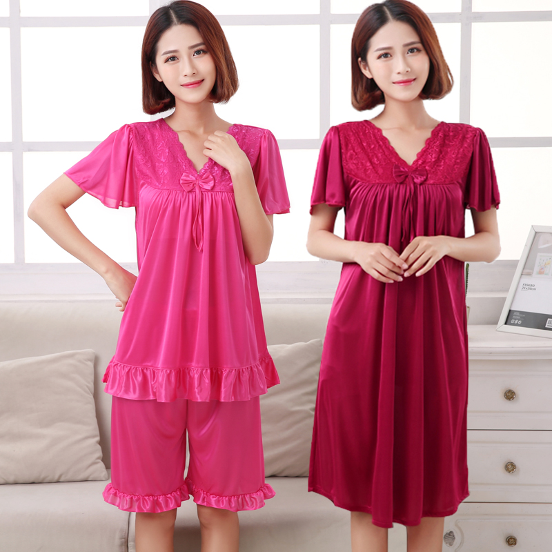 Summer fattening plus size ice silk nightdress womens short sleeve pajamas fat mm home clothes size XXXXL can wear 200kg