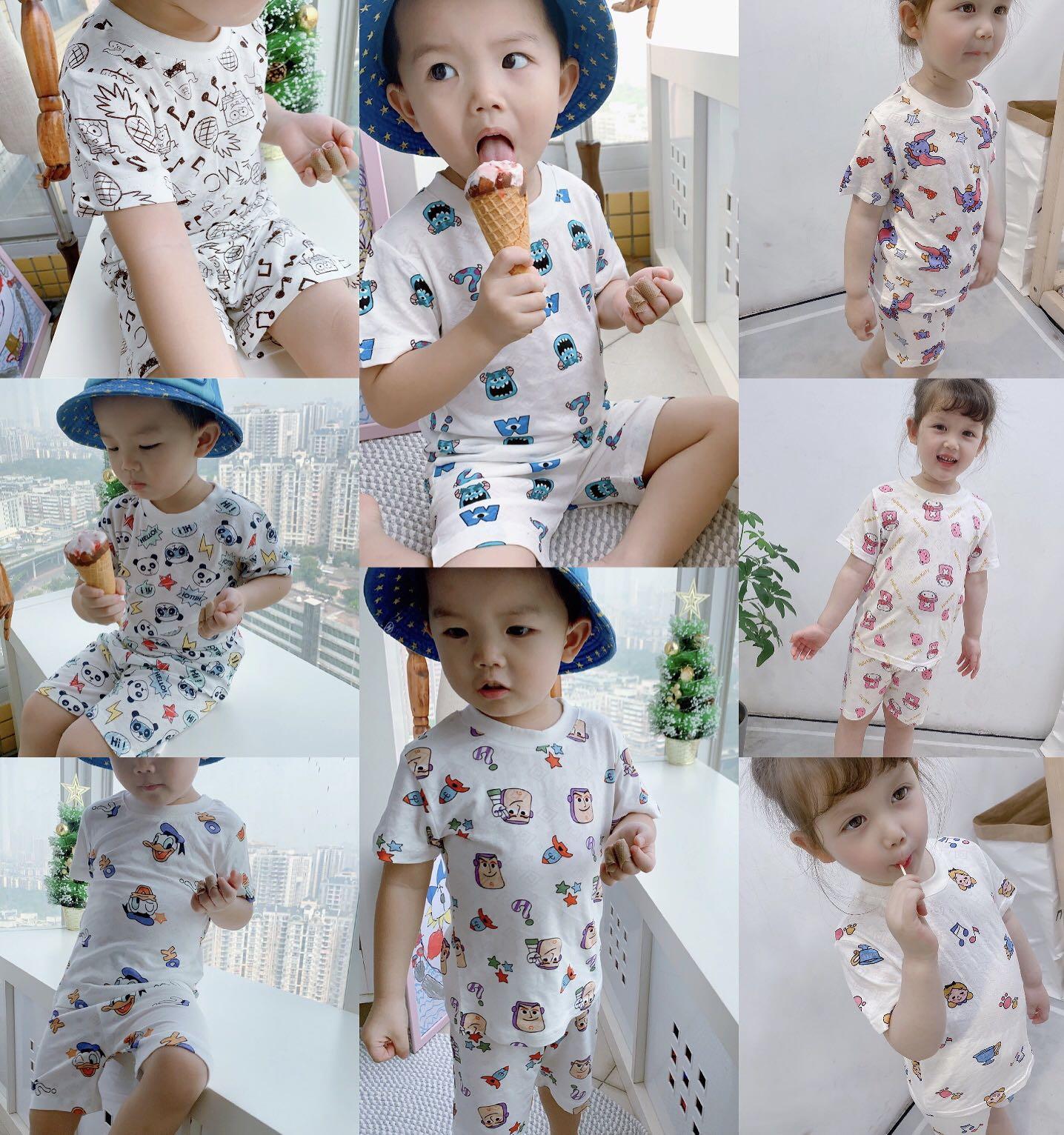 2020童装夏季怪兽大学玩具总动员竹纤维男女童儿童短袖短裤套装