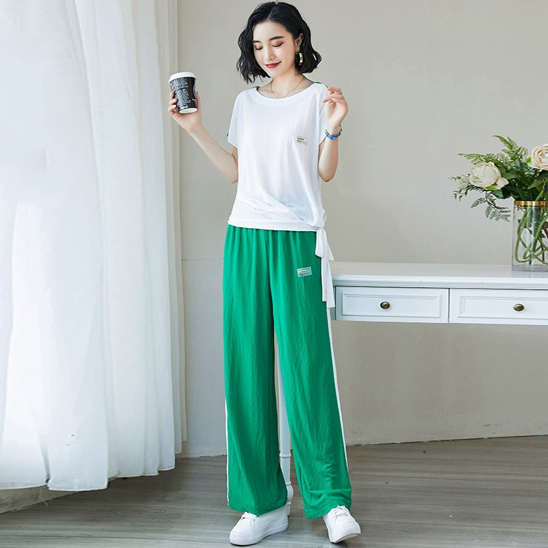 休闲运动显瘦时尚套装2019夏季新款女装洋气减龄坠感阔腿裤两件套满145.00元可用1元优惠券