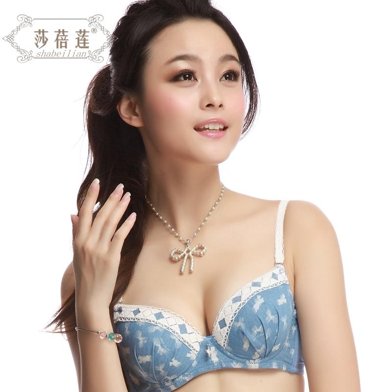 352日系蓝色蝴蝶结竹纤维舒适少女学生女士内衣套装文胸