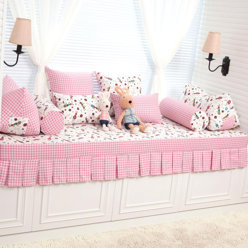 粉色儿童卡通飘窗垫子定制定做欧式田园加厚高密度海绵窗台垫子