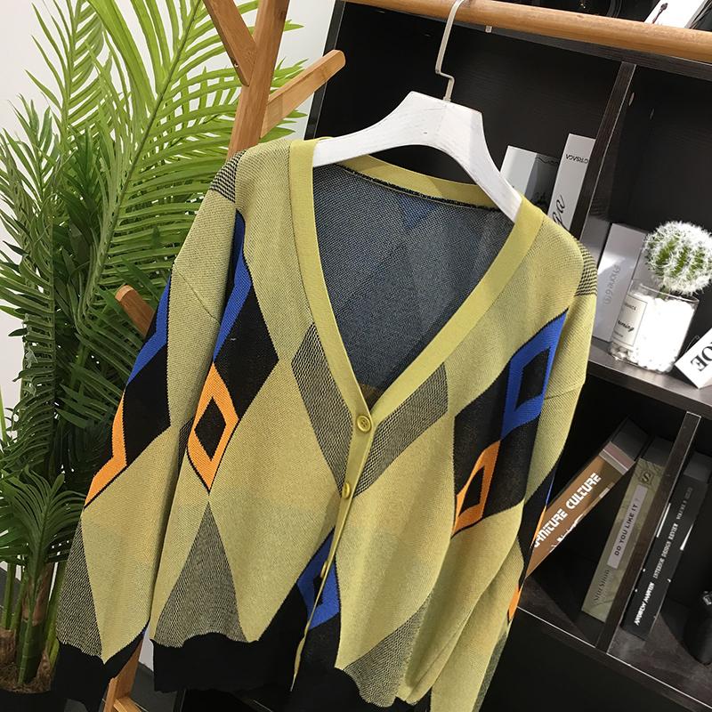 冬季新款女装韩版宽松舒适轻薄舒适拼色针织百搭单排扣外套KY