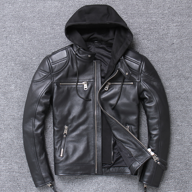 Heavyweight leather Harley Leather Mens top layer cattle leather jacket detachable hat short motorcycle riding suit leather coat