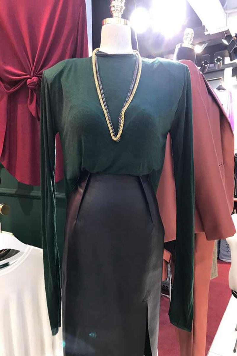 韩国进口东大门女装 名媛风时尚垫肩百搭长袖T恤