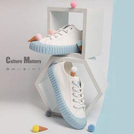 飛躍海鹽藍餅干鞋百搭流行女鞋新款日系低幫JK風帆布鞋泫雅風8326圖片