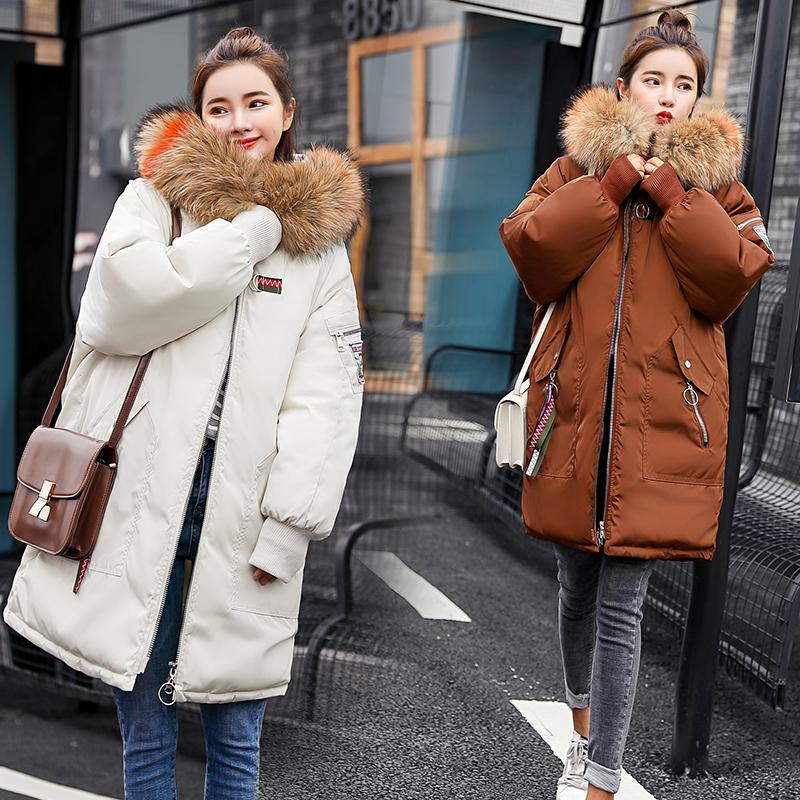 2018韩版宽松大毛领反季棉服女时尚布贴刺绣加厚中长款羽绒棉袄潮
