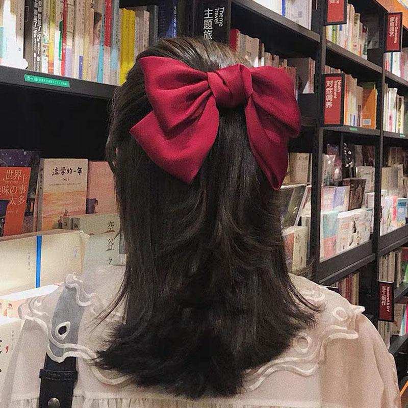 女神红色大蝴蝶结淑女气质发夹发绳洛丽塔发饰后脑弹簧夹 9.9包邮