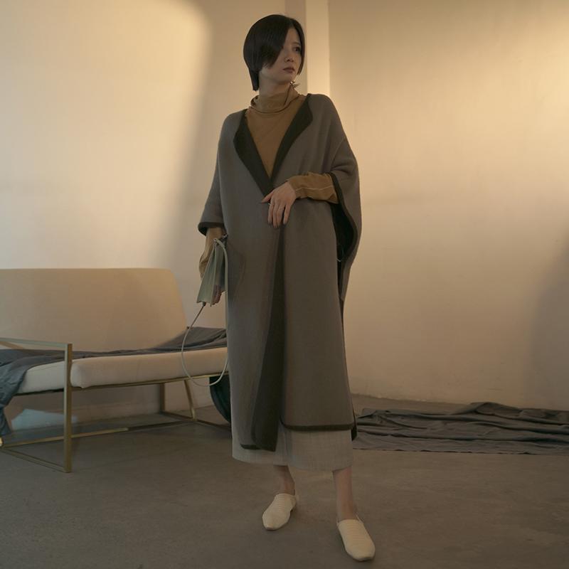 ZHEJIAN褶裥 羊毛羊绒兔绒混纺圆环装披肩大衣外套针织斗篷外套