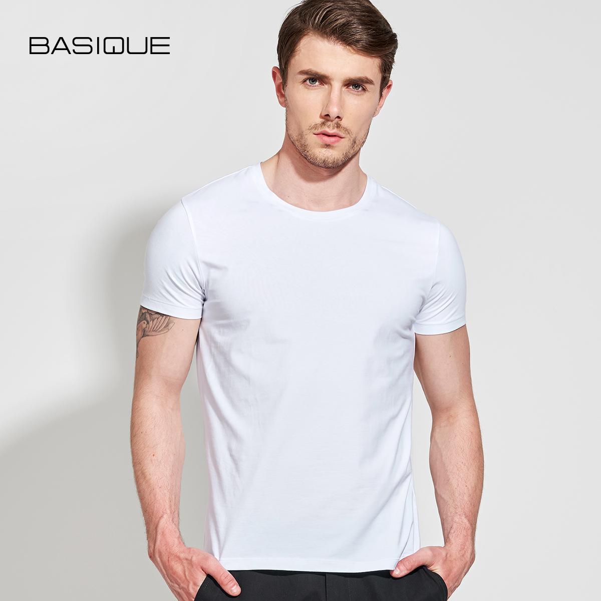 元本男装夏纯色短袖T恤 修身打底衫白休闲体恤半袖ins潮流纯白色t五折促销