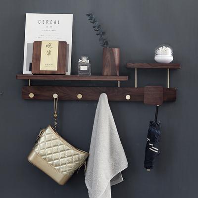Pure copper hook into the door hanger wall hanging creative porch coat hook bag key hook rack walnut solid wood