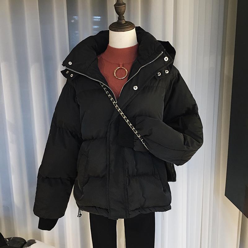 大码女装200斤胖妹妹冬装新款面包服外套宽松加厚羽绒棉衣棉服潮