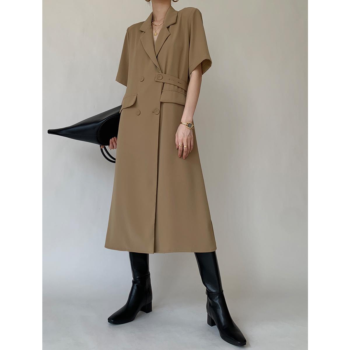 タオバオ仕入れ代行-ibuy99 长大衣女 PAPERLLL 辛间 长款夏季薄款短袖风衣外套女宽松腰带大衣外套长裙