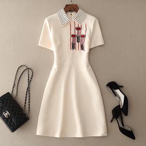 欧美大牌名媛气质裙子女春夏新款时尚短袖修身口红钉珠a字连衣裙