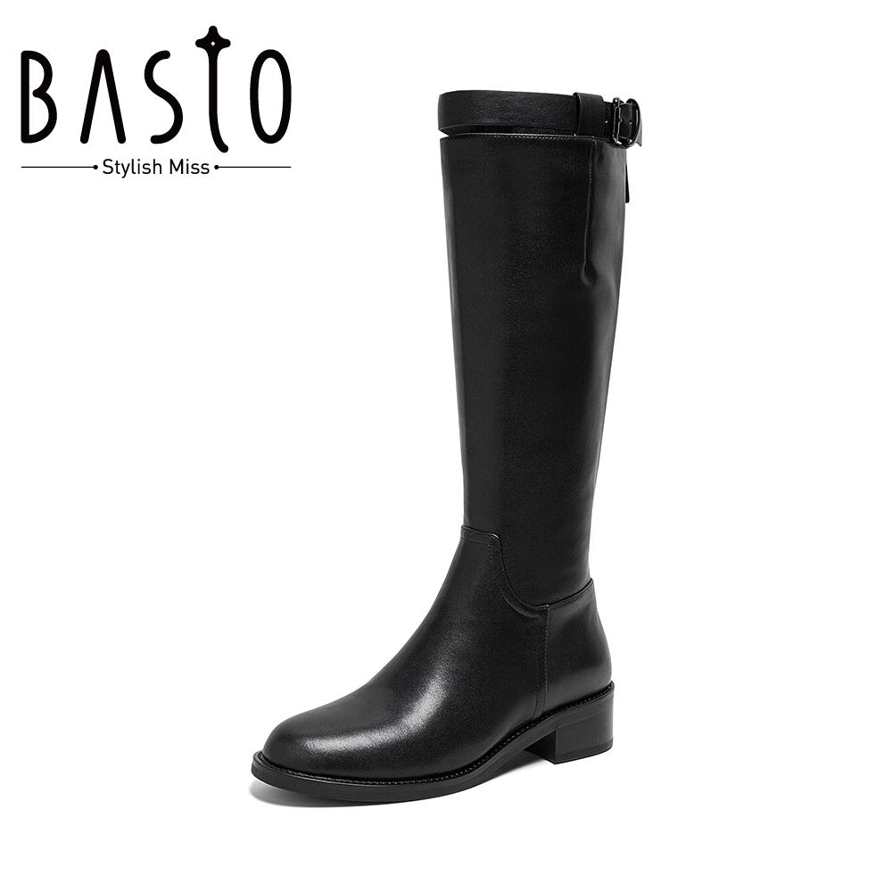 Best picture winter cow leather mall same style knight boots plus velvet black over-the-knee boots female leather boots A5707DG9