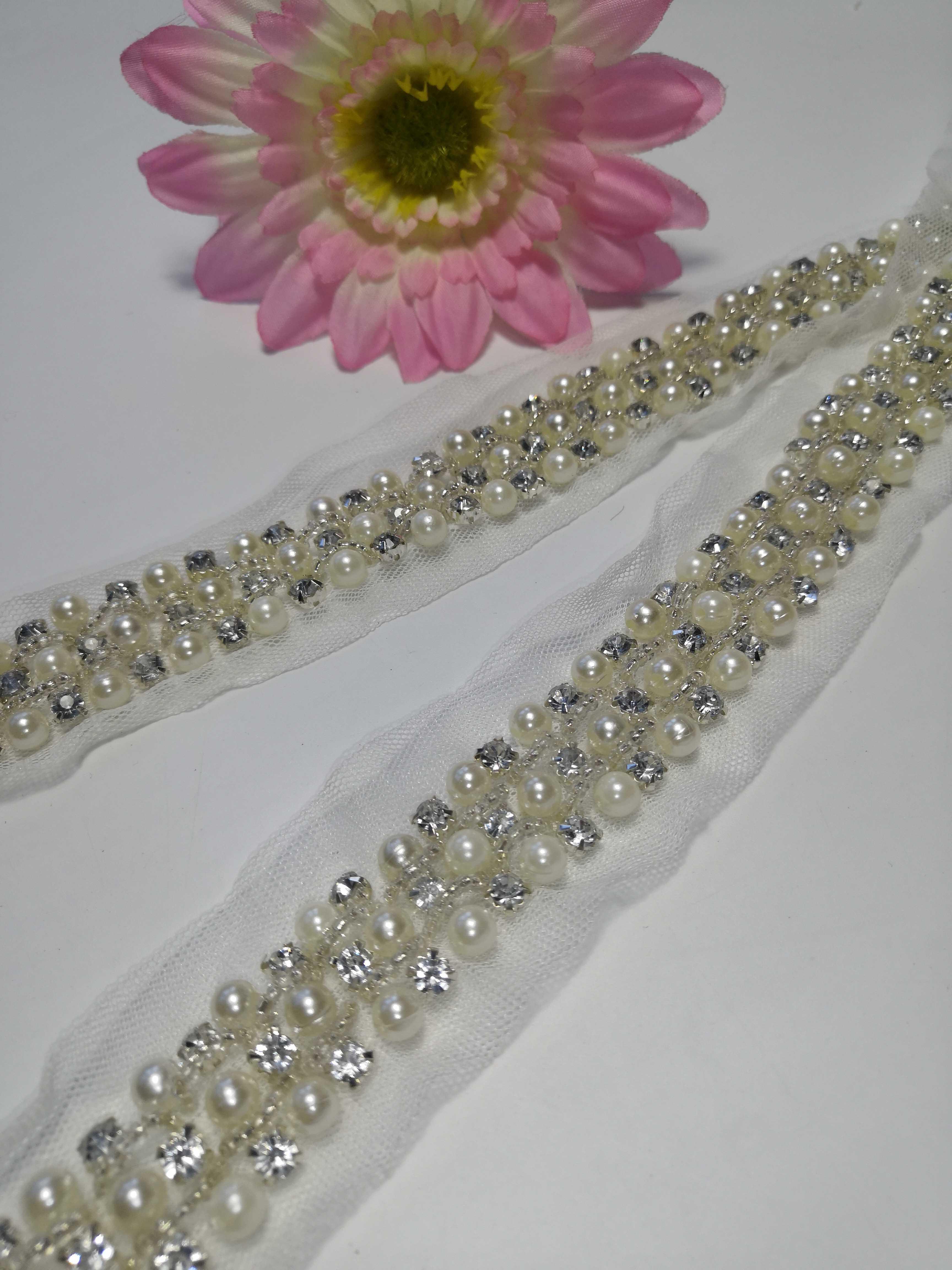 白色网纱钉珠亮钻串珠链条 服饰饰品配件一件一米diy手工辅料