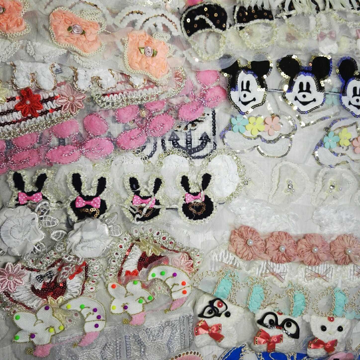 网纱毛线钉珠刺绣蕾丝可爱卡通小布贴称斤处理diy手工服饰辅料