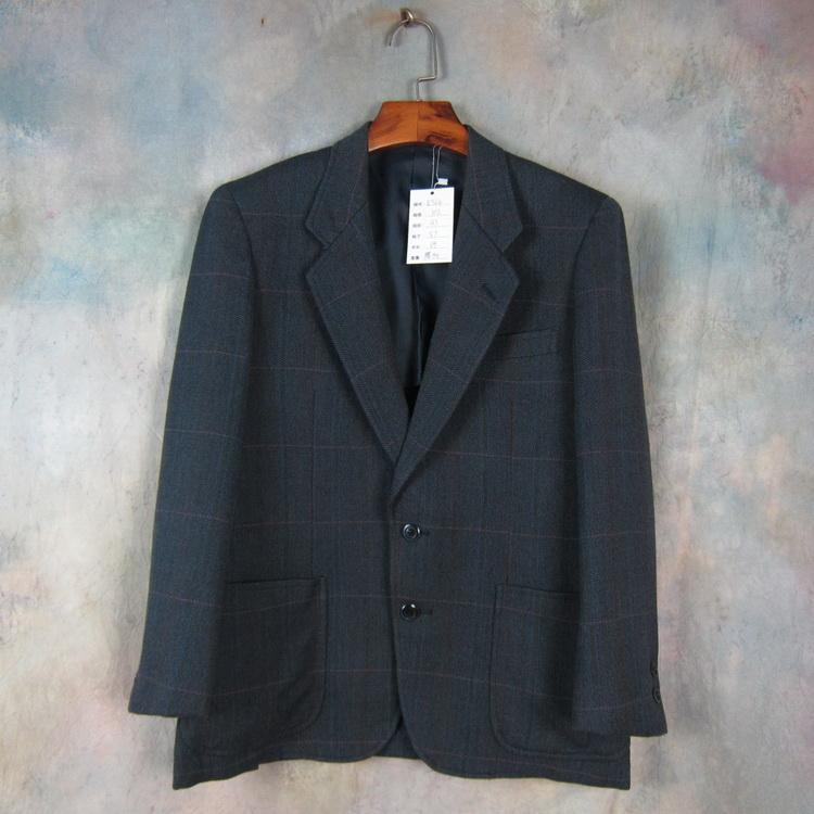 British wool DORMEUIL business casual mens Suit Blue Plaid suit slim fit e564