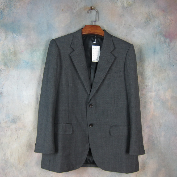 Ancient vintage pure wool imported from Italy youth trend suit dark grey Plaid spring and autumn slim e739