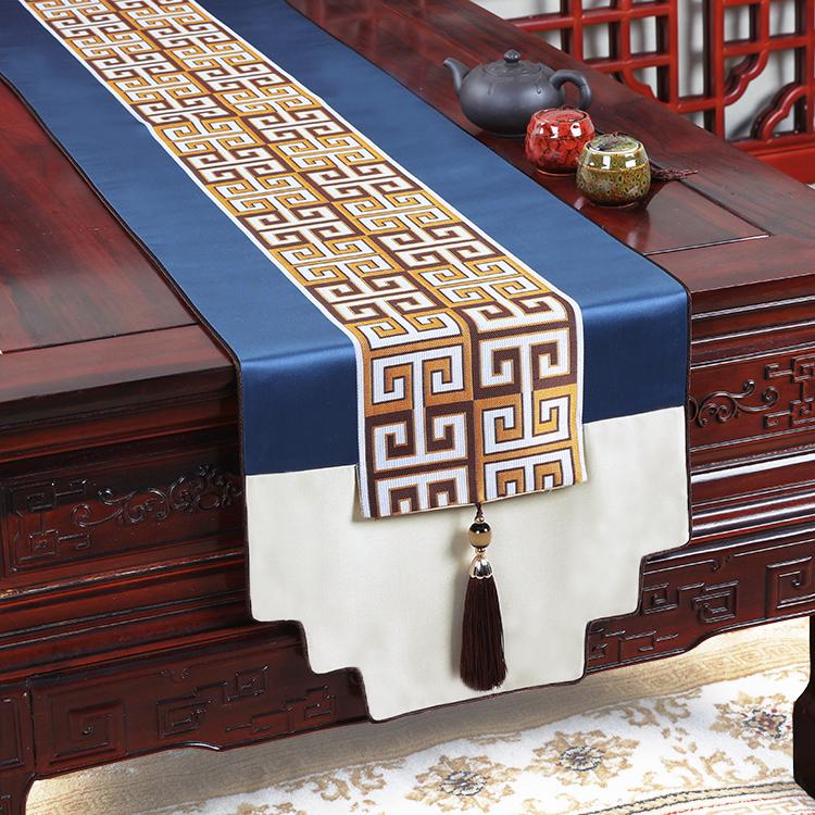 艺必旭新中式古典高档玉佩桌旗茶几餐桌长条布艺中国风桌布床柜旗