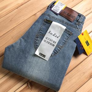 ENKOM LEE秋冬加绒男士牛仔裤弹力直筒宽松商务休闲大码牛仔长裤