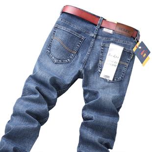 ENKOM LEE秋冬新款男士牛仔裤男加绒加厚弹力直筒宽松大码长裤子