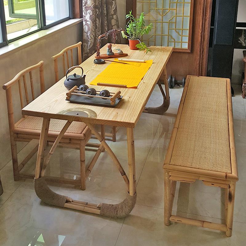 藤木结合原创实木餐桌家用工作台简约自然写字书法桌喝茶桌抄经桌