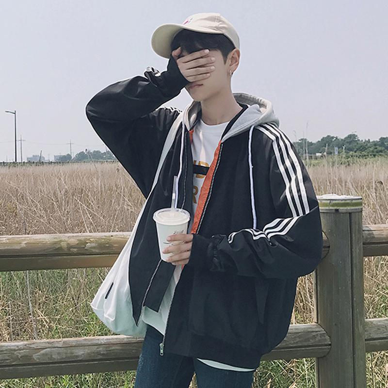 2017韩版新款拼色连帽男士宽松夹克衫潮男装港风外套上衣服林弯弯