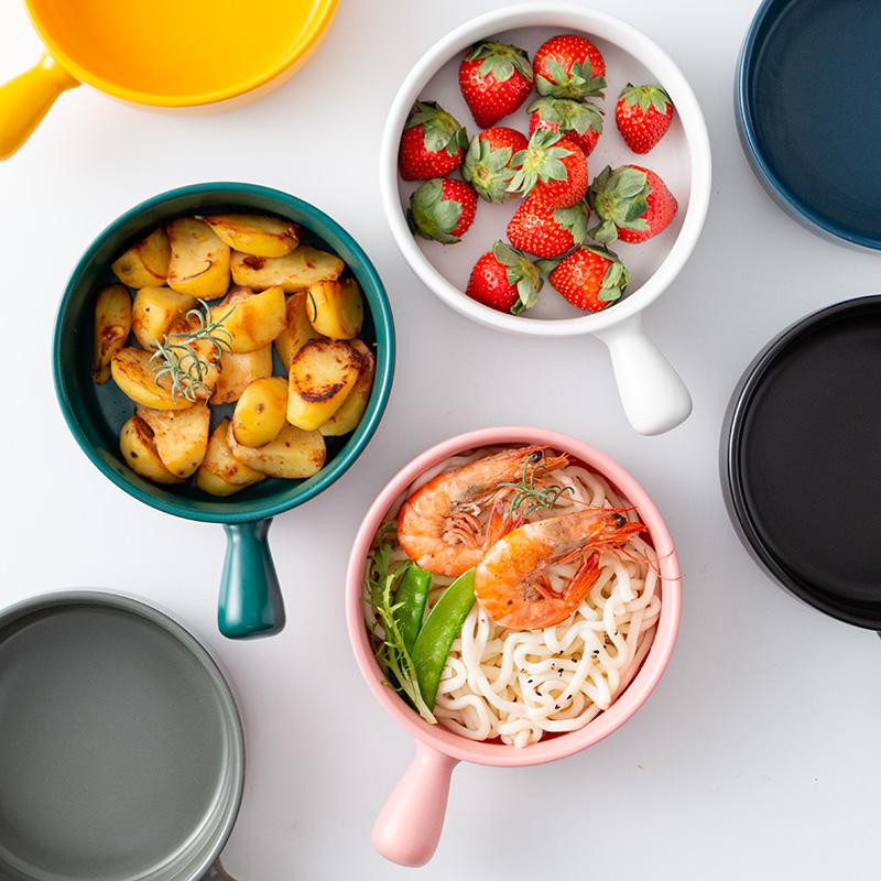 日式烘培碗餐具帶手柄焗飯電烤箱專用陶瓷烤盤子一人食水果沙拉碗