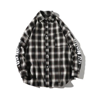 印花格子衬衣 潮男士韩版外套 长袖衬衫A029A C99 P45 <em>白底</em>日系