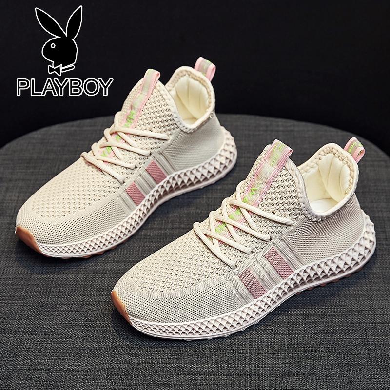 プレイボーイ飛織運動靴女性夏靴ランニング靴通気ココナッツ靴女性韓国版学生靴