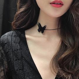项链女锁骨链小众设计网红蝴蝶项链短款黑色颈链项圈choker个性仙