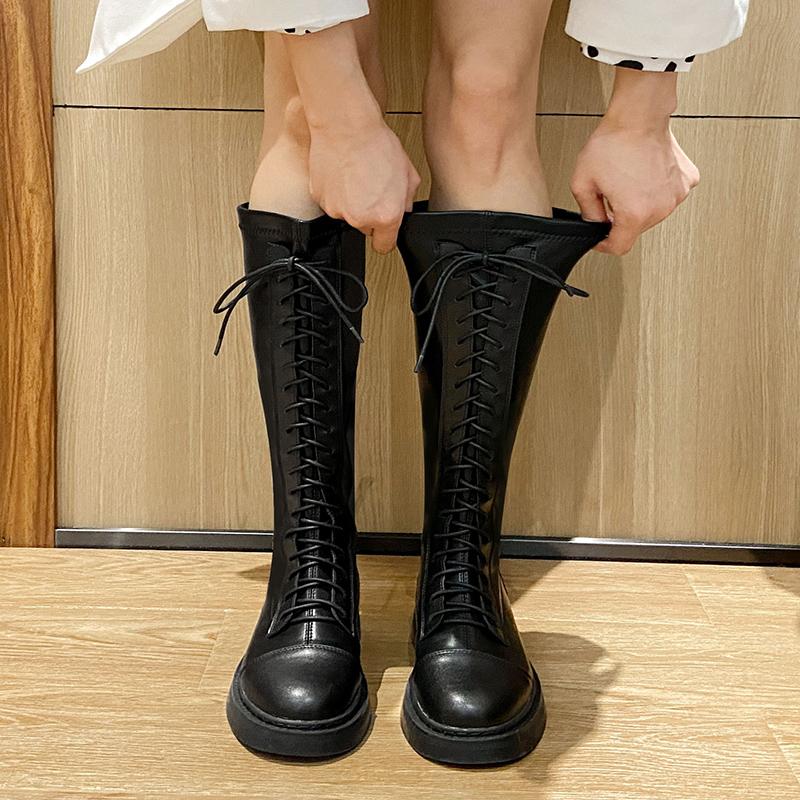 长筒靴骑士靴黑色长靴春秋粗腿胖mm大筒围高筒靴子大码女靴41一43