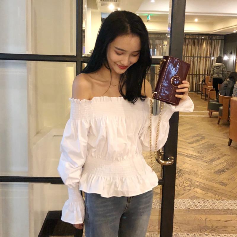 韩版chic百搭一字肩套头上衣花苞袖性感纯色长袖露肩春夏女款衬衫图片