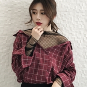Korean version of the new loose academy style fake two-piece mesh stitching plaid V-neck versatile long-sleeved shirt top female trend