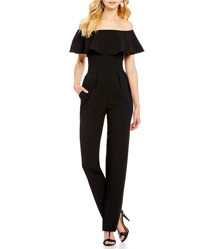 No.5 5398 Amazon hot one line collar ruffled Off Shoulder Waist snow yarn Jumpsuit pants