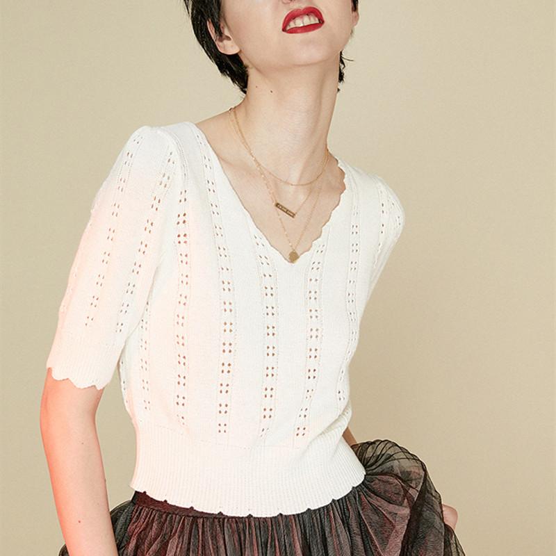秋装新款针织短袖女羊绒衫V领百搭镂空上衣短款显瘦打底薄款毛衣图片