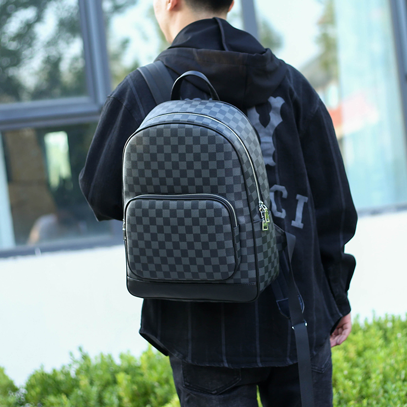 Mens backpack authentic Korean fashion backpack mens large capacity European and American fashion leisure backpack youth computer bag