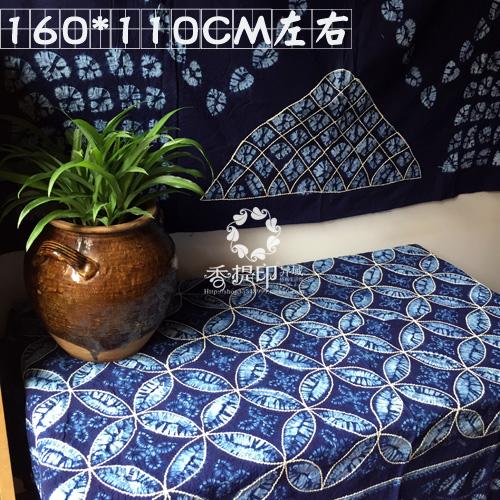 云南大理周城古法扎染桌布茶几布手工扎染壁挂布民族家居装饰布艺